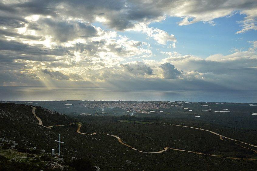 Destination wedding in Greece Filiatra sky, sea and mountain view