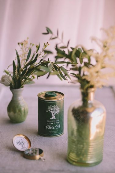 Olive oil and branch wedding favours