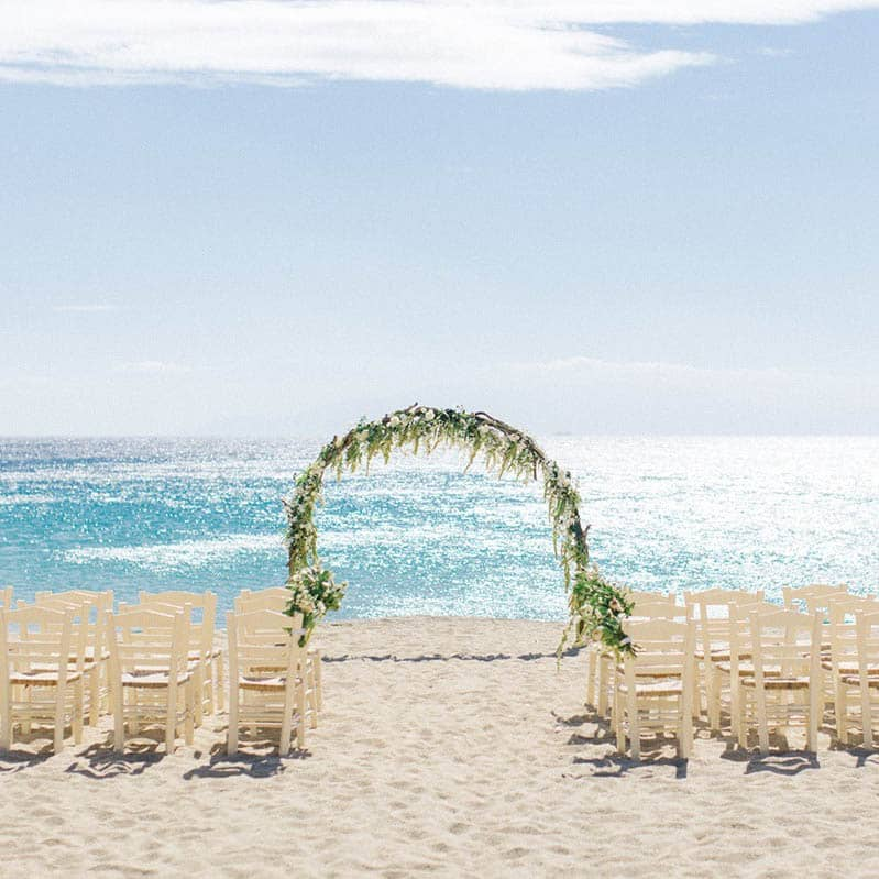 Beautiful summer beach wedding setup.