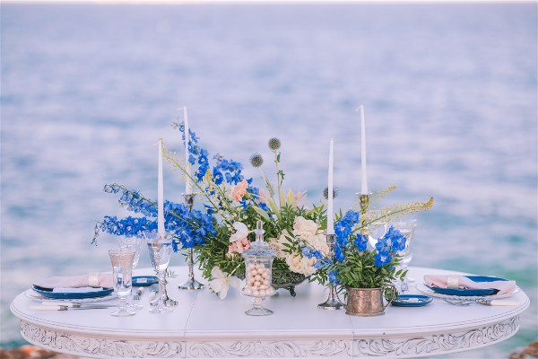 wedding table in front of sea