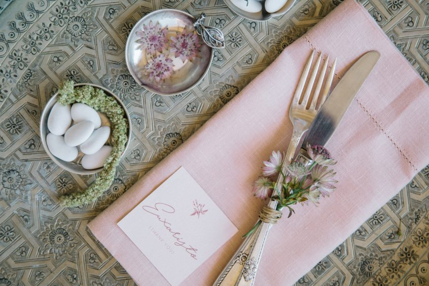 Art de la table setup for a wedding in Greece