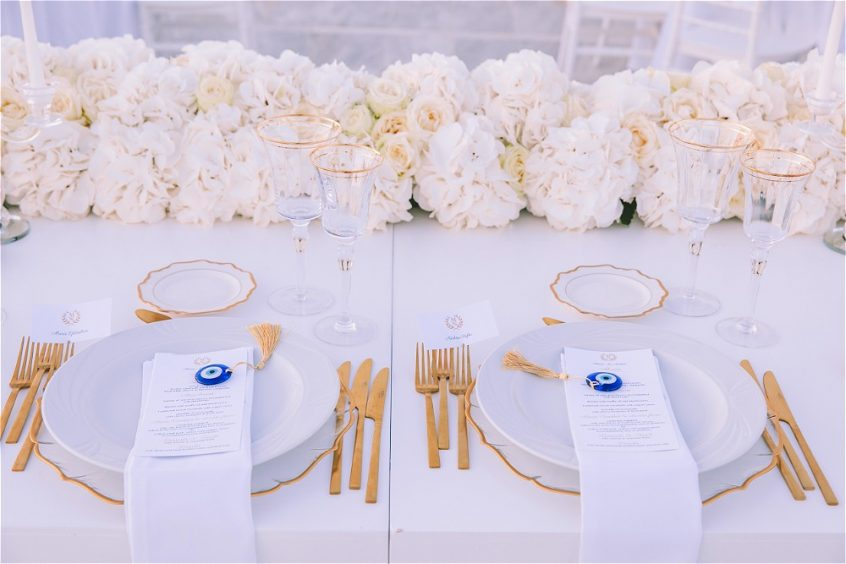 Bride and Groom`s dinnerplates for their wedding in Paros