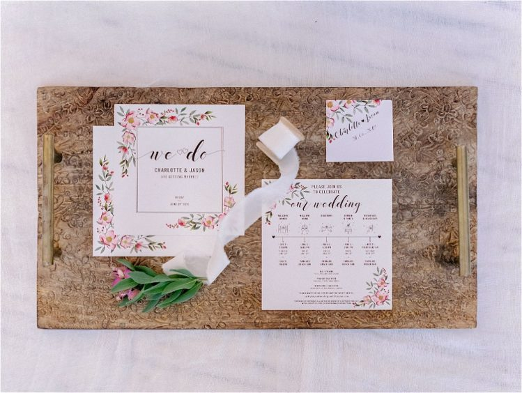 wedding stationery in brown background