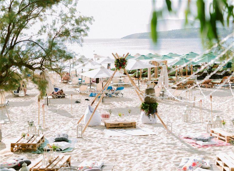 On the beach wedding reception for beach wedding in Greece
