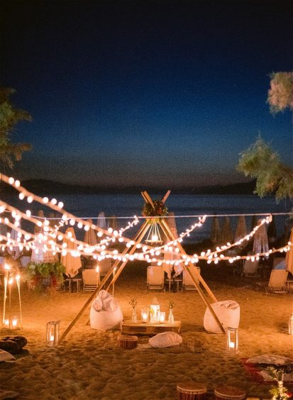 night at the beach with decorations