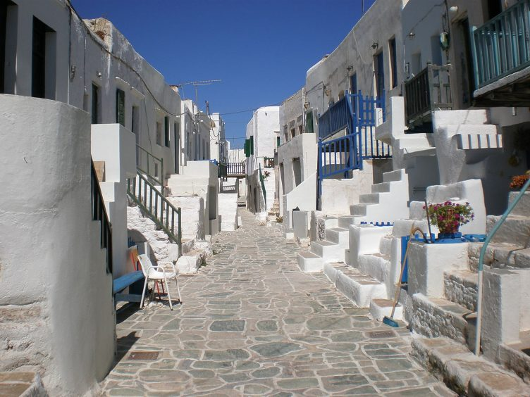 Folegandros buildings and stone path