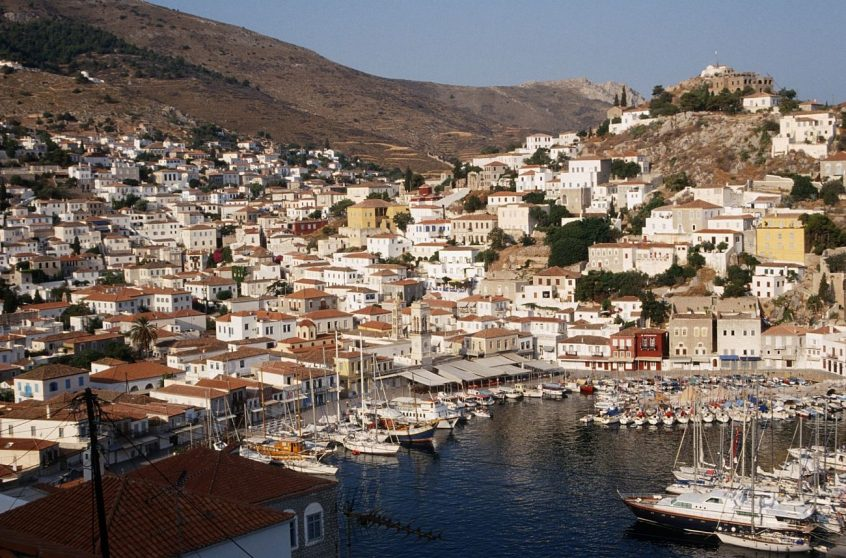 Hydra Greece island port view with buildings