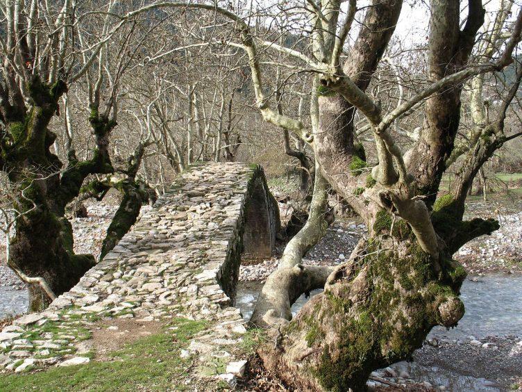 Destination wedding in Greece Karpenisi forest and stone bridge
