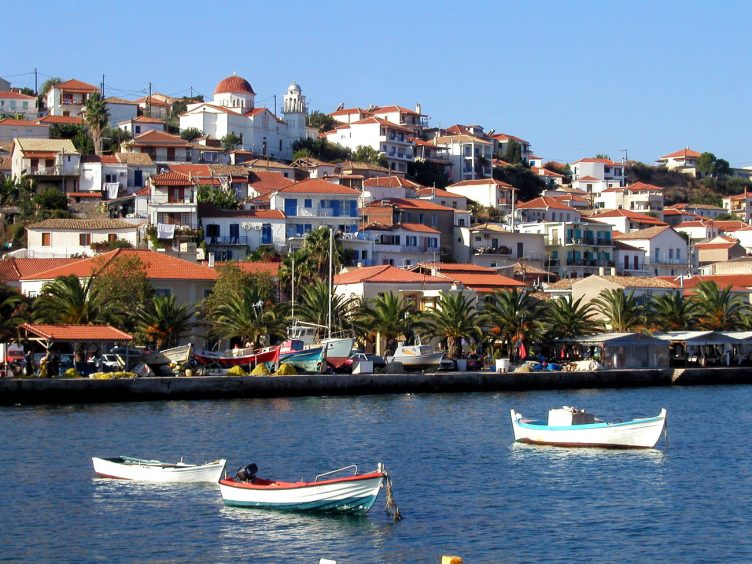 Koroni Greece view of village and sea from boat