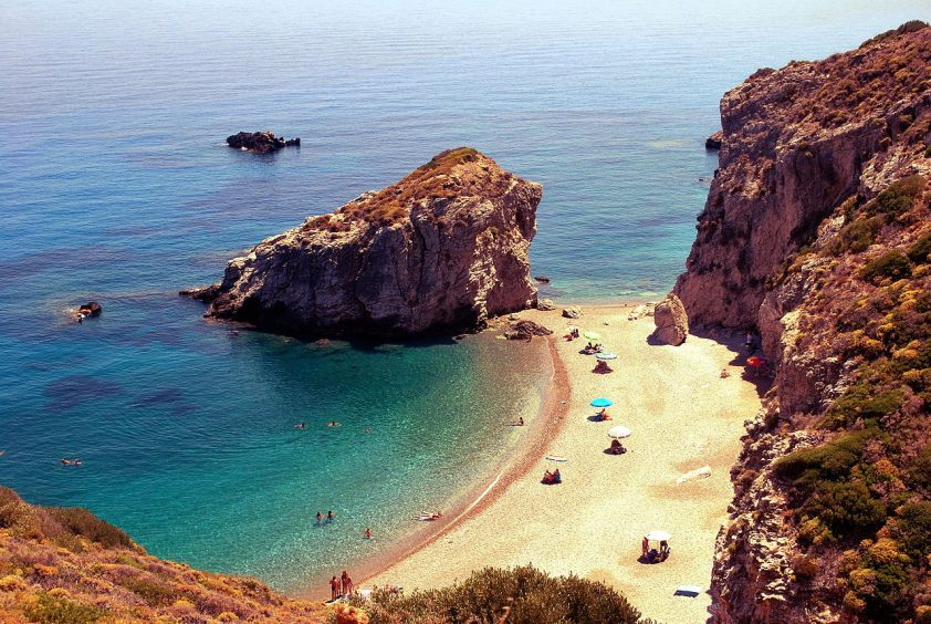 Kythira Greece view of sea and beach
