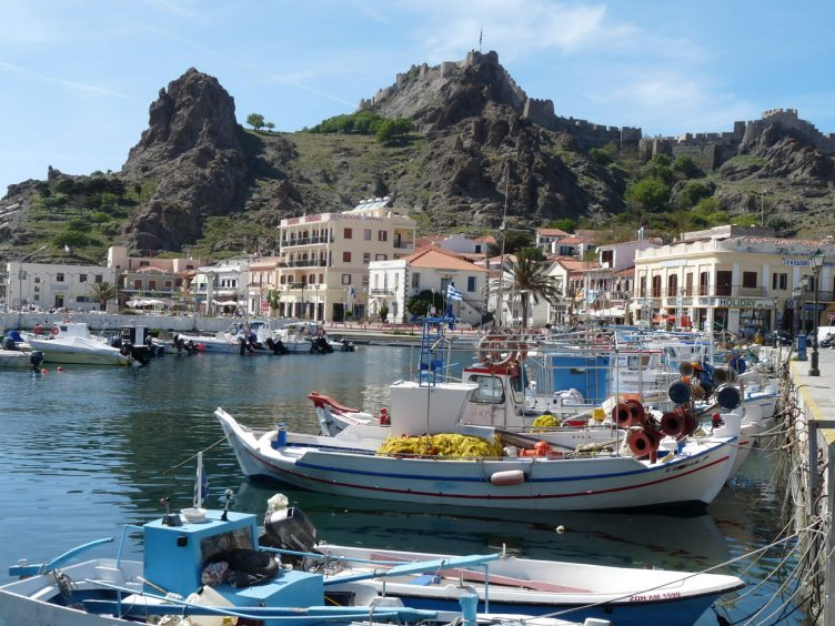 Lemnos Greece port and sea view with boats