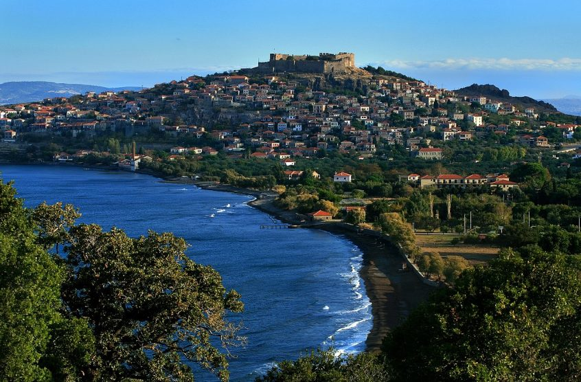 Lesvos Greece sea and beach view from hill
