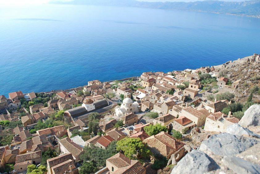 Destination wedding in greece Monemvasia sea and town view