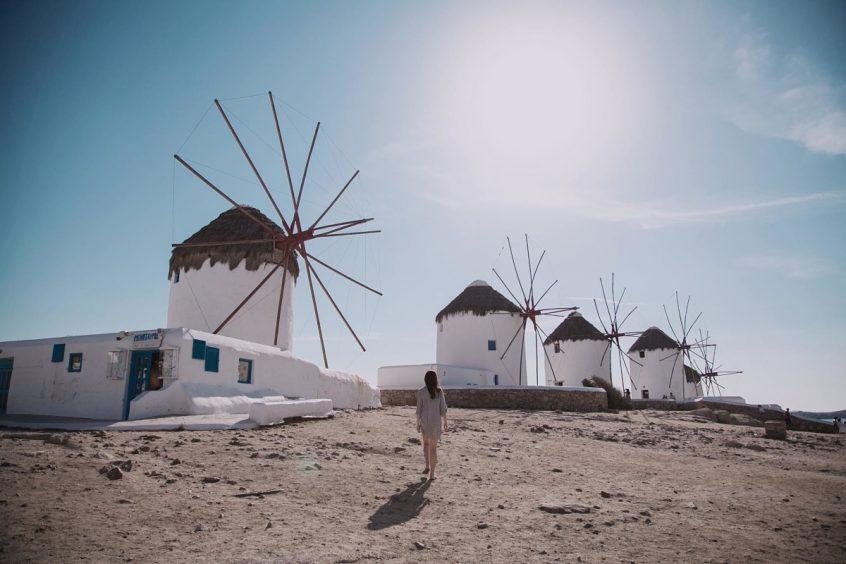 Destination wedding in Greece Mykonos windmills