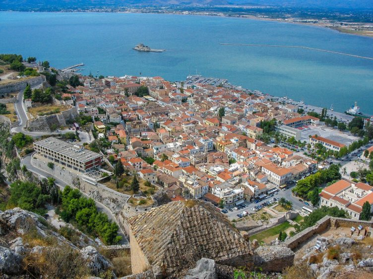 Nafplio Greece town and sea view from hill