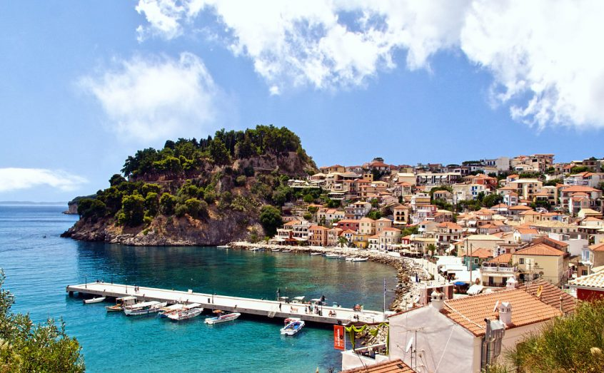 Destination wedding in Parga port, sea and island view