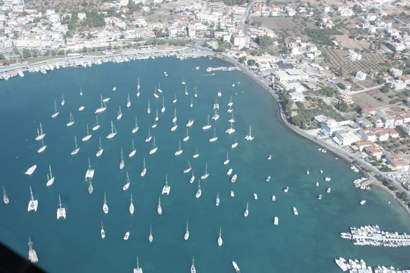 Porto Cheli aerial view of port with boats