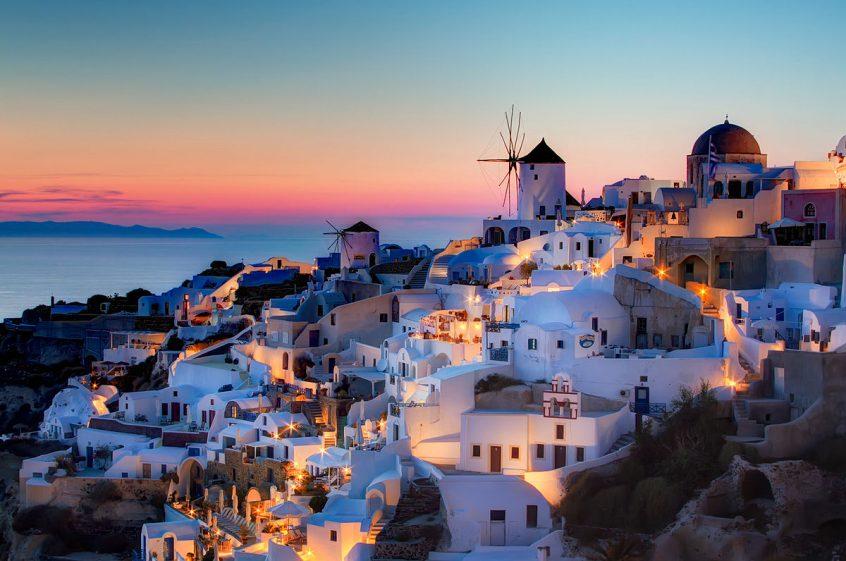 Santorini sunset view destination wedding in greece