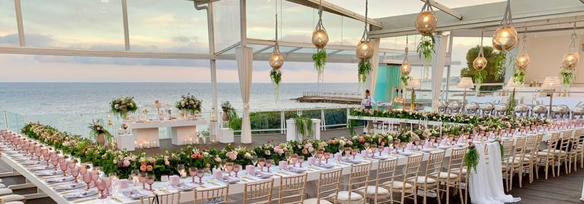 Wedding reception table and flower decorations