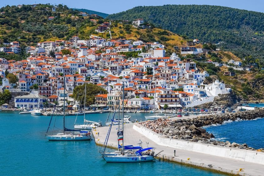Skopelos sea and port view