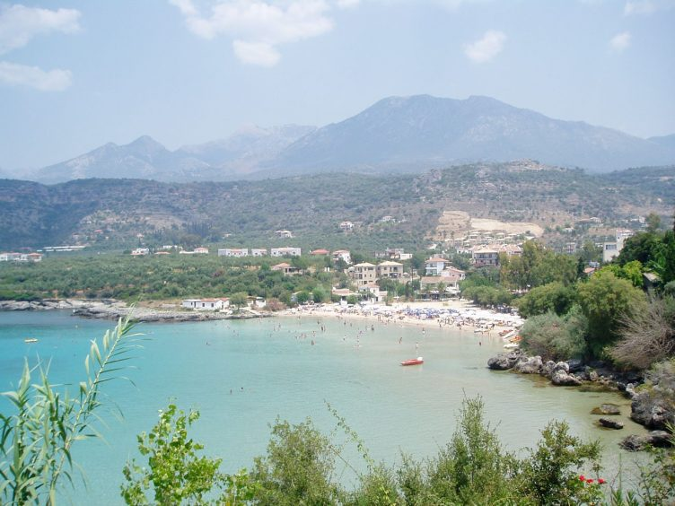 Stoupa sea and town view from hill