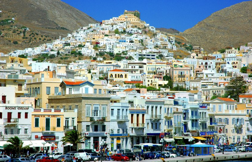 Syros town view from boat