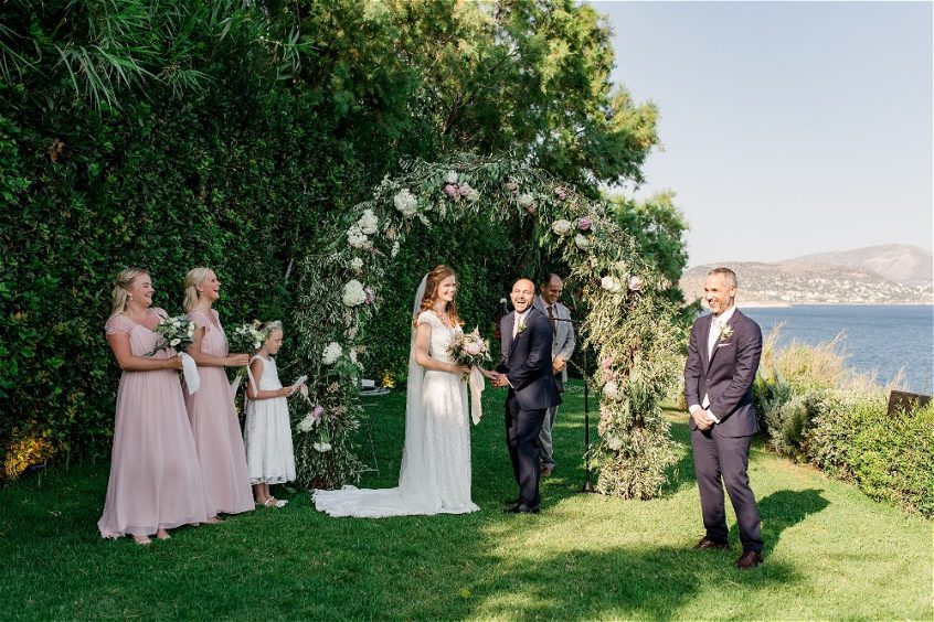 Garden ceremony for a wedding in Greece