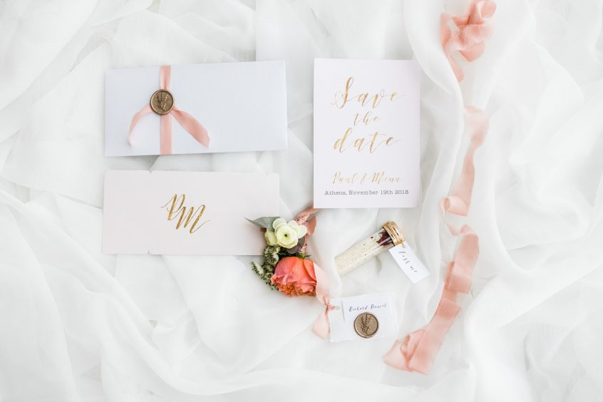 Wedding stationary white background