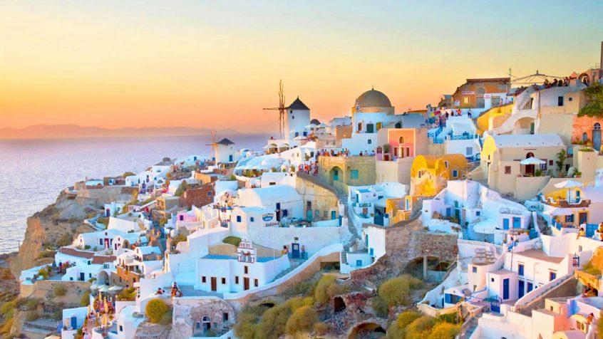 beautiful Greek island setting sunset