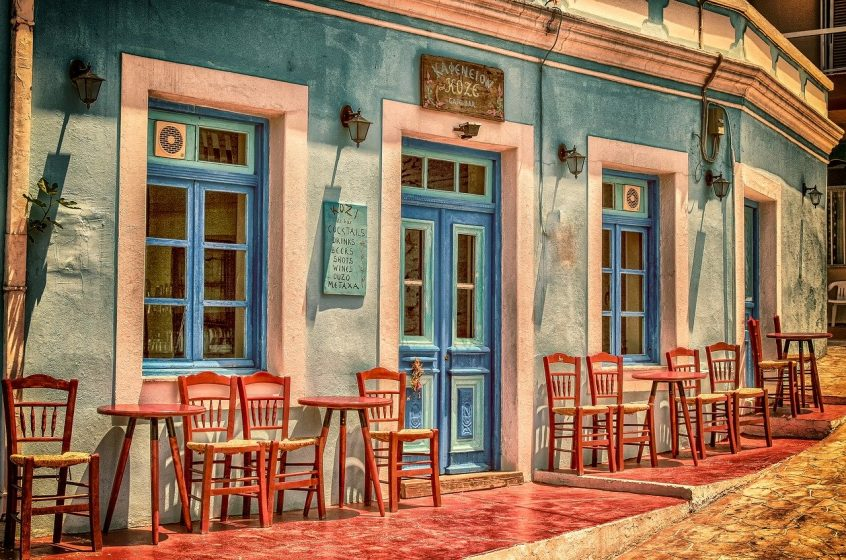 Greek island coffee shop