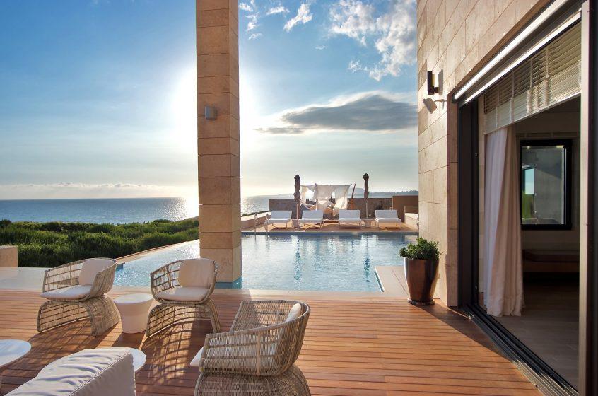 Costa Navarino pool and mountain view