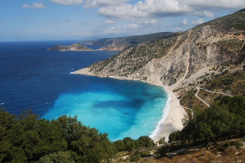 Hill view of kefalonia greece beach and sea