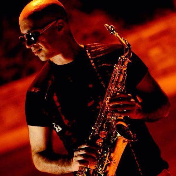 Greek saxophone player Nikos Koulouris with glasses