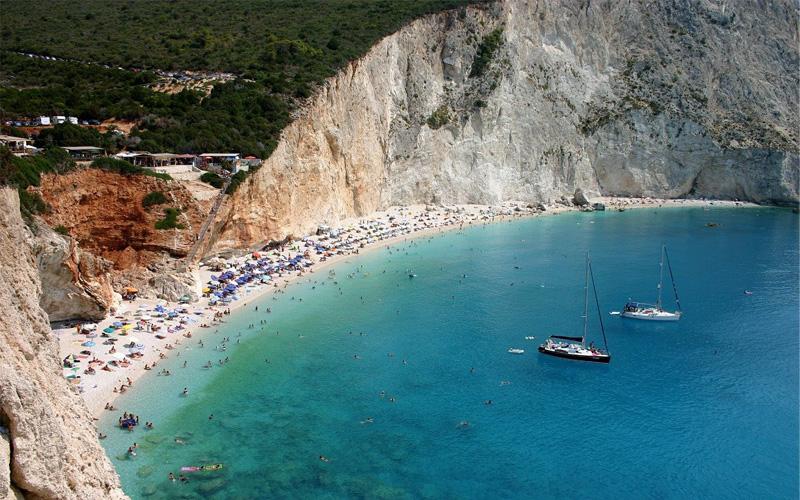 Famous beach in Lefkada island