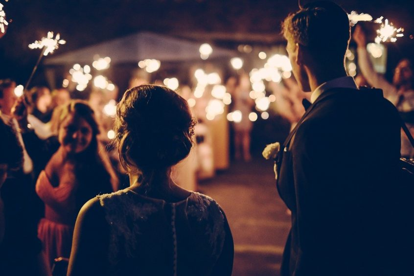 Marriage ceremony at night with candles