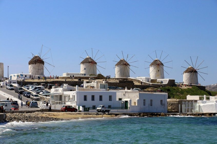 Mykonos windmills view from sea