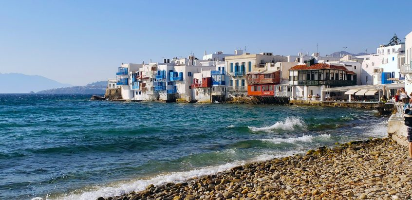 View of Little venice mykonos for a wedding