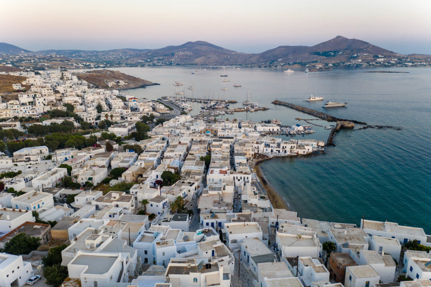 Top view of Paros island