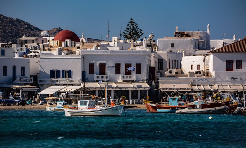 Wedding in Mykonos Chora town view from sea