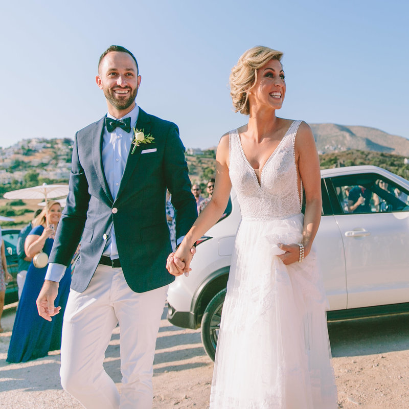 bride and groom after their marriage at the Athenian reviera