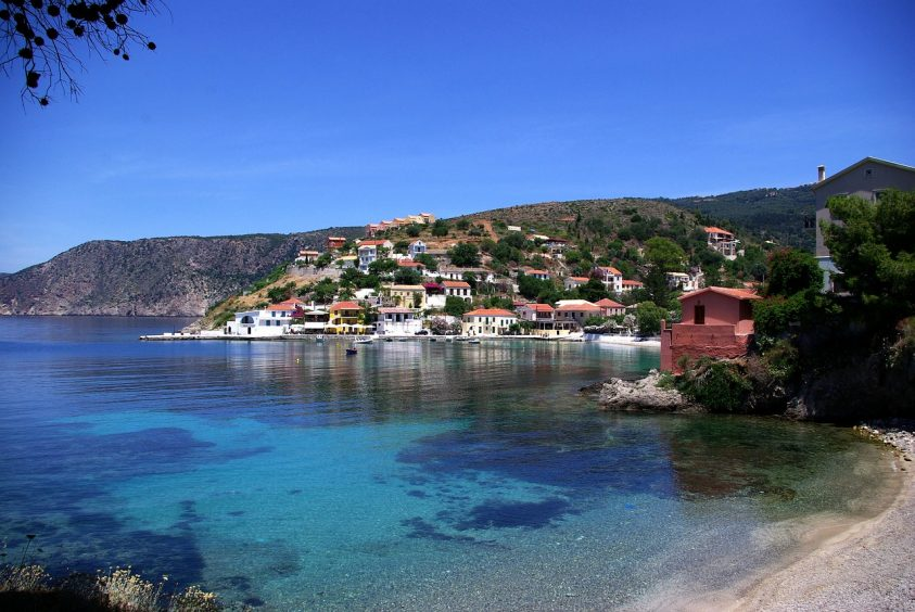 wedding in kefalonia village and sea view