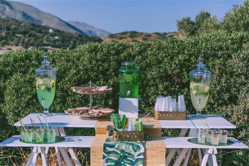Candy bar setup by a Greek wedding planner